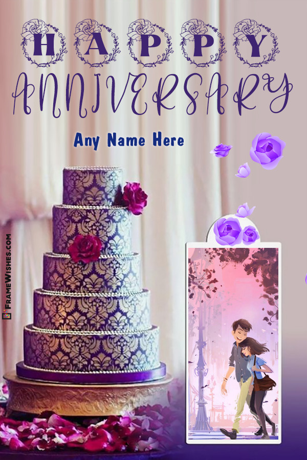Royal 3 Tier Anniversar Cake With Photo Frame and Name