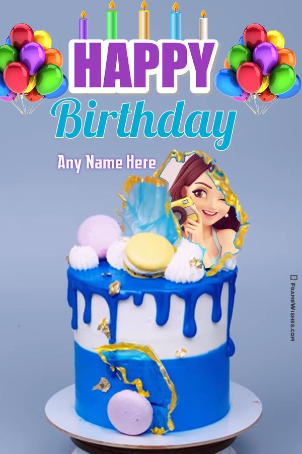 Royal Macrons Birthda Cake With Photo Frame and Name Edit