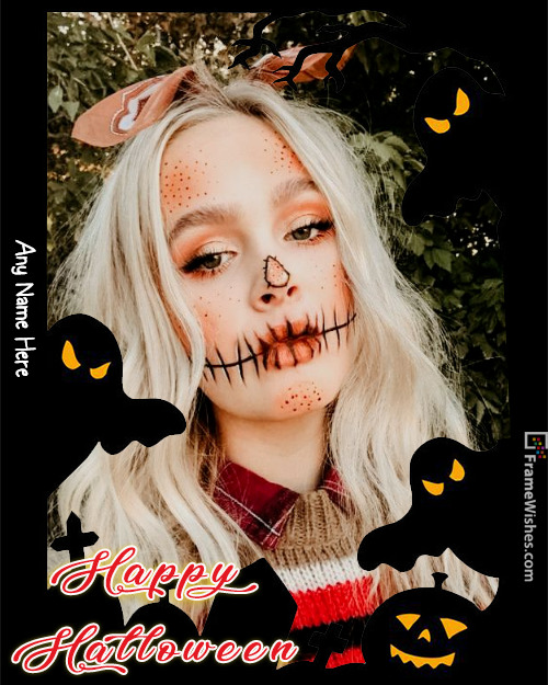 Scary Grave and Devils Halloween Photo Frame Free Online