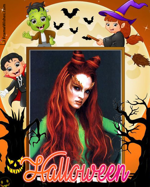 Spooky Halloween Scary Photo Frame Free Online For Relatives and Friends