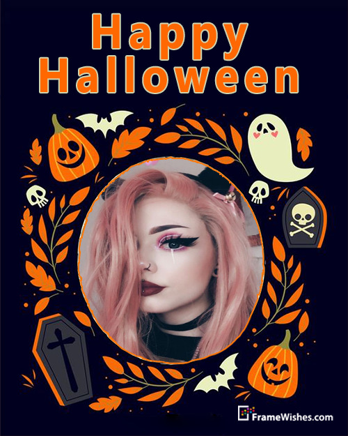 Spooky Pumpkin Grave Happy Halloween Photo Frame For Friends Or Cousins