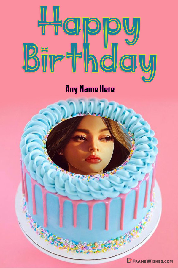 Sprinkled Happy Birthday Cake With Name and Photo Frame