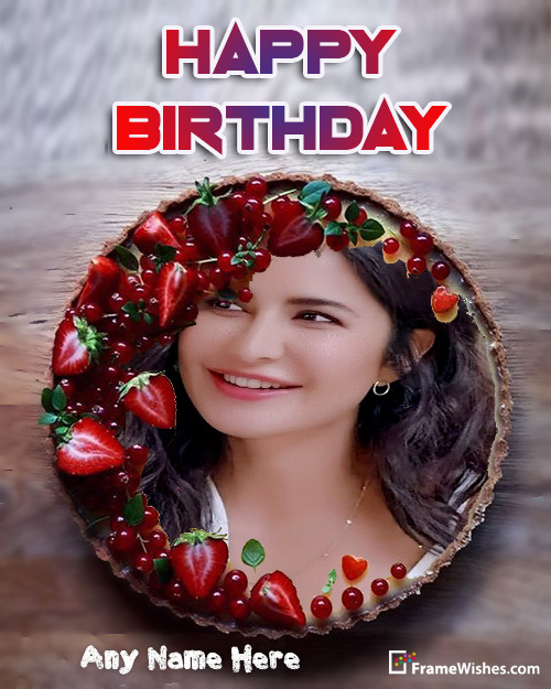 Strawberries Cherries Birthday cake with Photo Frame For Friends